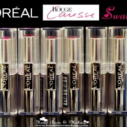 L'Oreal Rouge Caresse Lipstick Swatches: Cheeky Magenta, Impulsive Fuchsia, Rose Mademoiselle, Dating Coral, Aphrodite Scarlet, Irresitible Expresso
