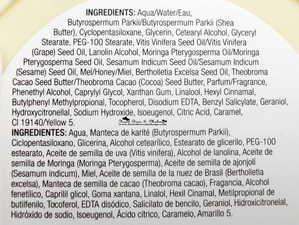 TBS Body Butter Moringa Review Ingredients