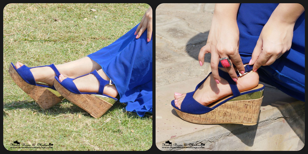Delhi Fashion Blog: Pavers England Blue Wedges