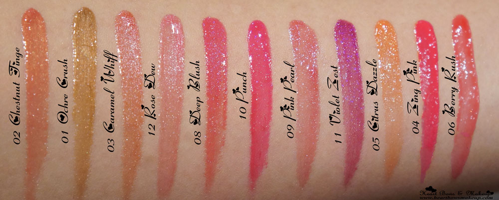 New Faces Glam On Lipglosses Review & Swatches: Chestnut Tinge, Ochre Crush, Caramel Whiff, Rose Dew, Deep Blush, Punch, Pink Pearl, Violet Zest, Citrus Dazzle, Zing Pink, Berry Rush