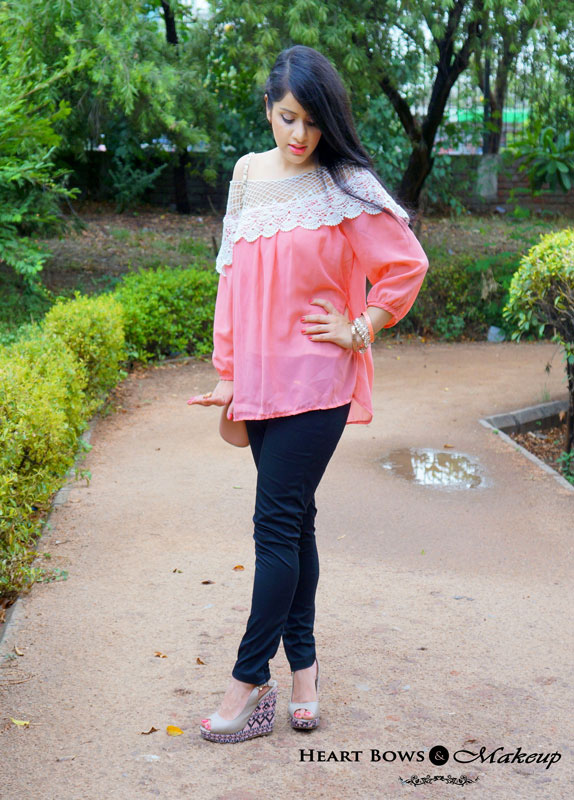 Indian Fashion Blogger: Sheer Coral Top & Black Pants