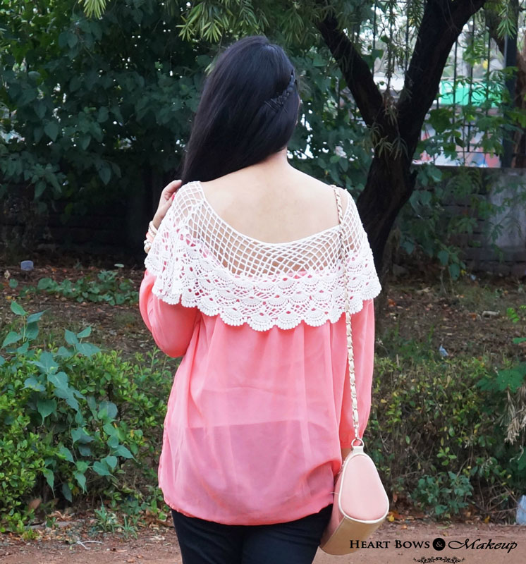Indian Makeup & Beauty Blog: Coral Top & Black Pants OOTD