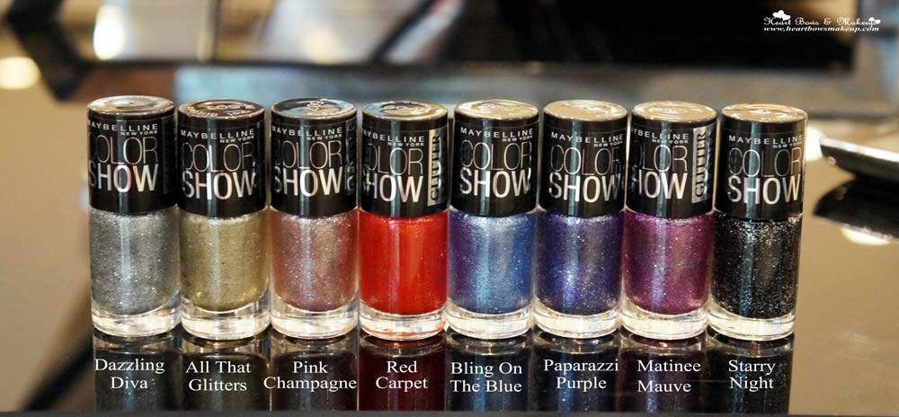 Maybelline Color Show Glitter Mania Nail Polishes Review Shades