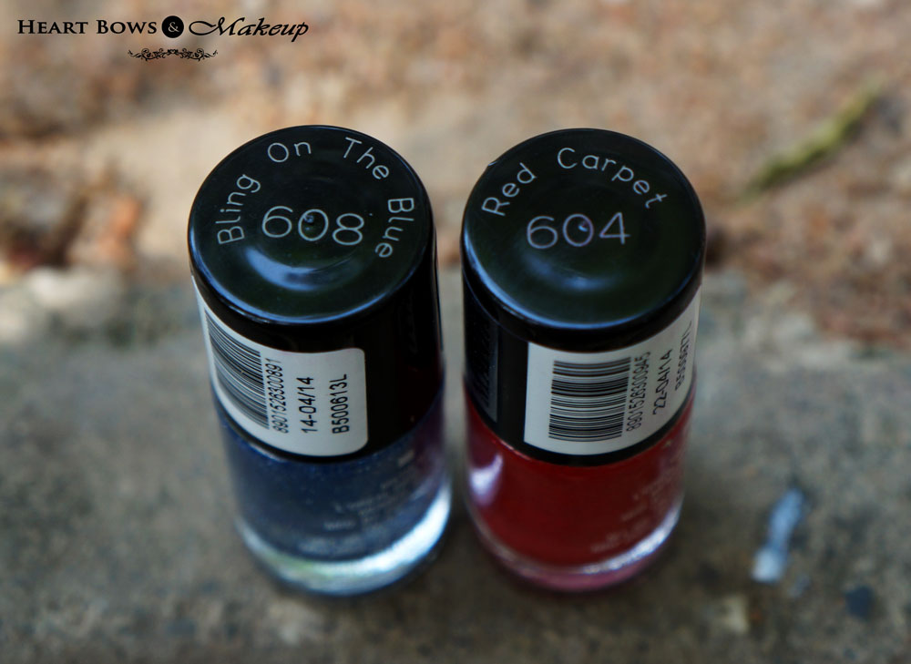 Maybelline Color Show Glitter Mania Nail Polish  Bling On The Blue & Red Carpet Nail Polish Review & Swatches