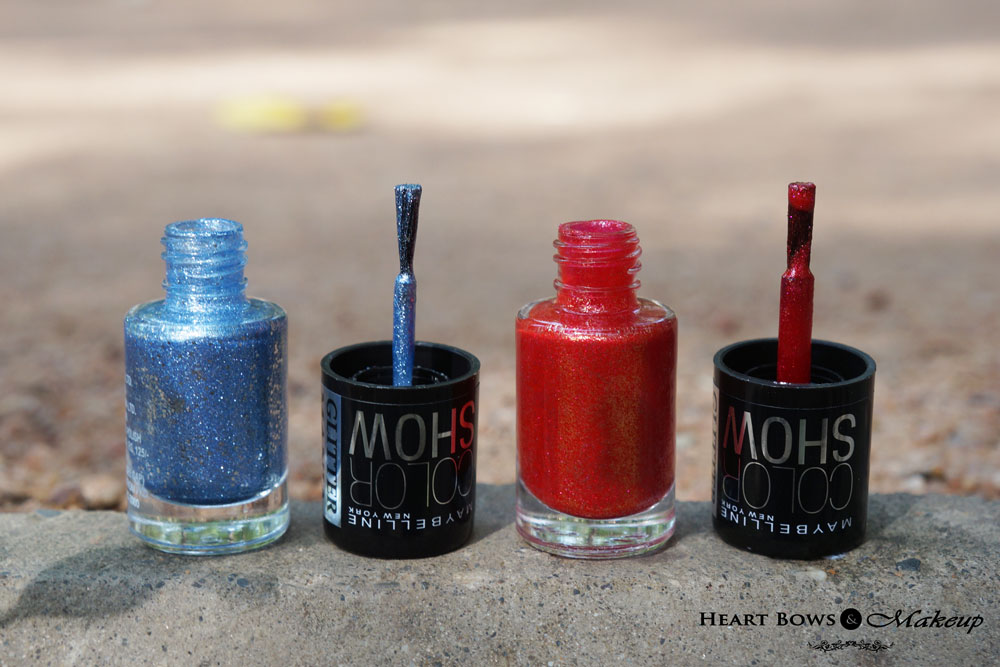Maybelline Glitter Mania Nail Polish Bling On The Blue & Red Carpet Nail Polish Review