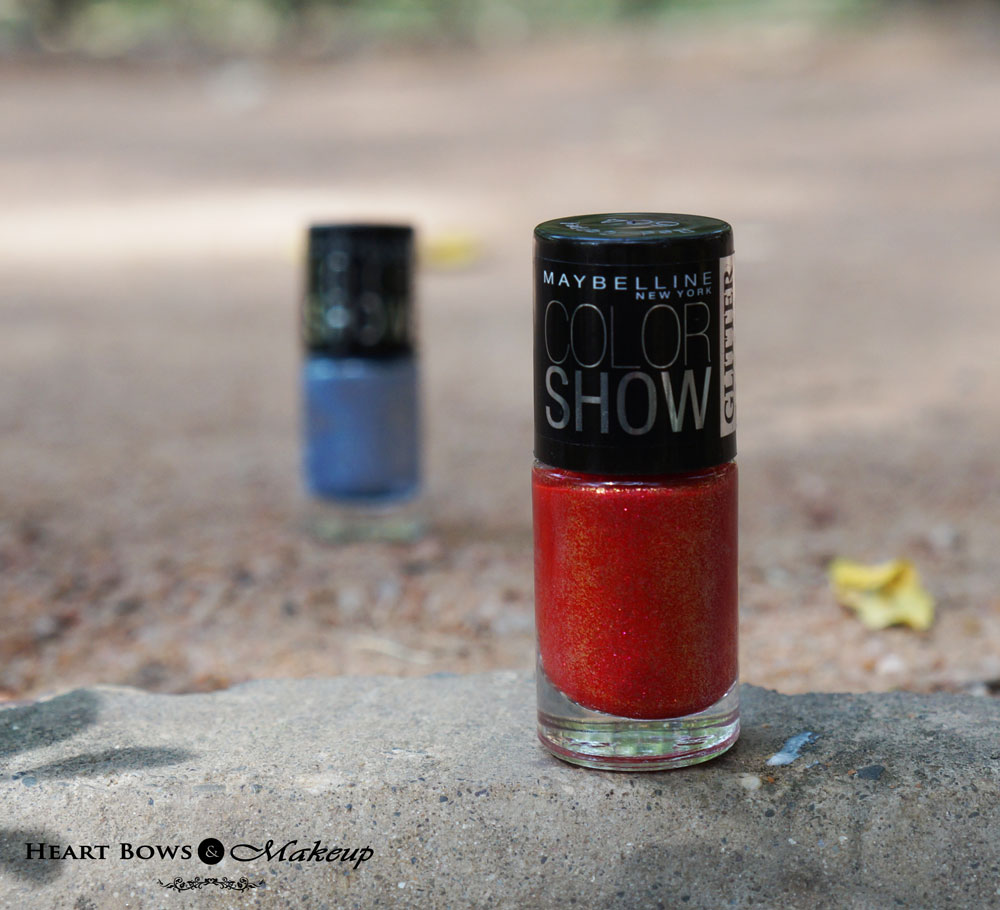 Maybelline Colorshow Glitter Mania Nail Polish Red Carpet Review, Swatches & Price India