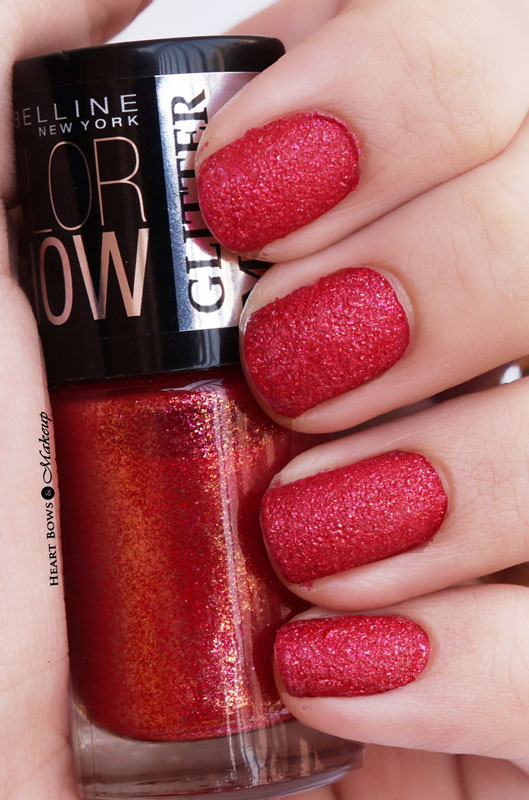 Maybelline Glitter Mania Red Carpet Nail Polish Review, Swatches & NOTD