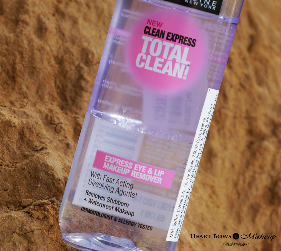 Maybelline Clean Express Total Clean Waterproof Eye & Lip Makeup Remover Review, Price & Buy Online India