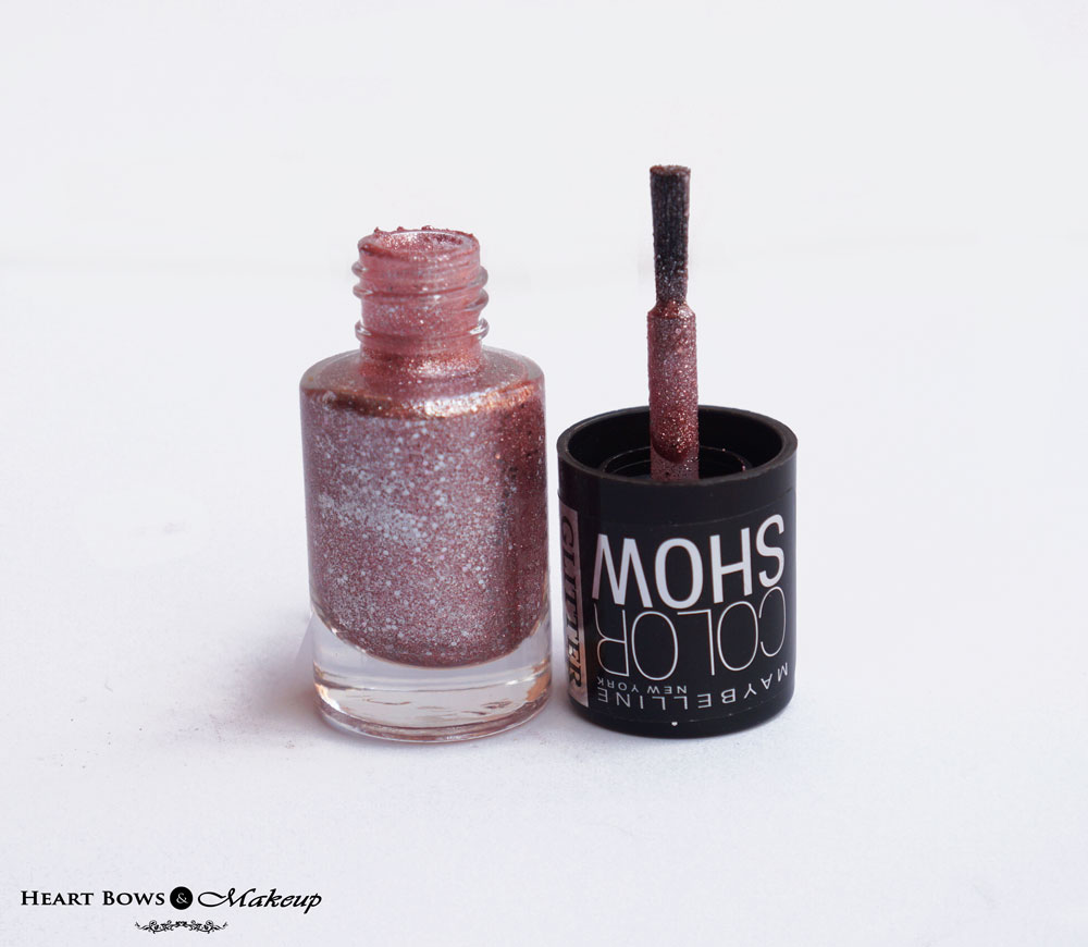 Maybelline Glitter Mania Pink Champagne Nail Polish  Review & Swatches