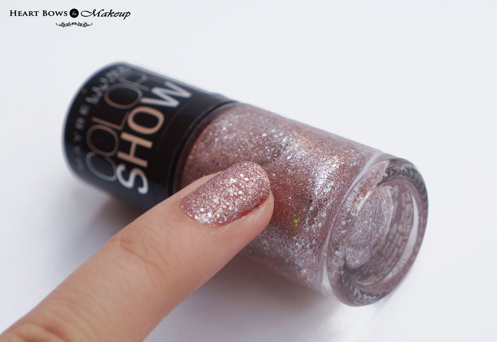 Maybelline Glitter Mania Pink Champagne Nail Polish Review, Swatches & NOTD