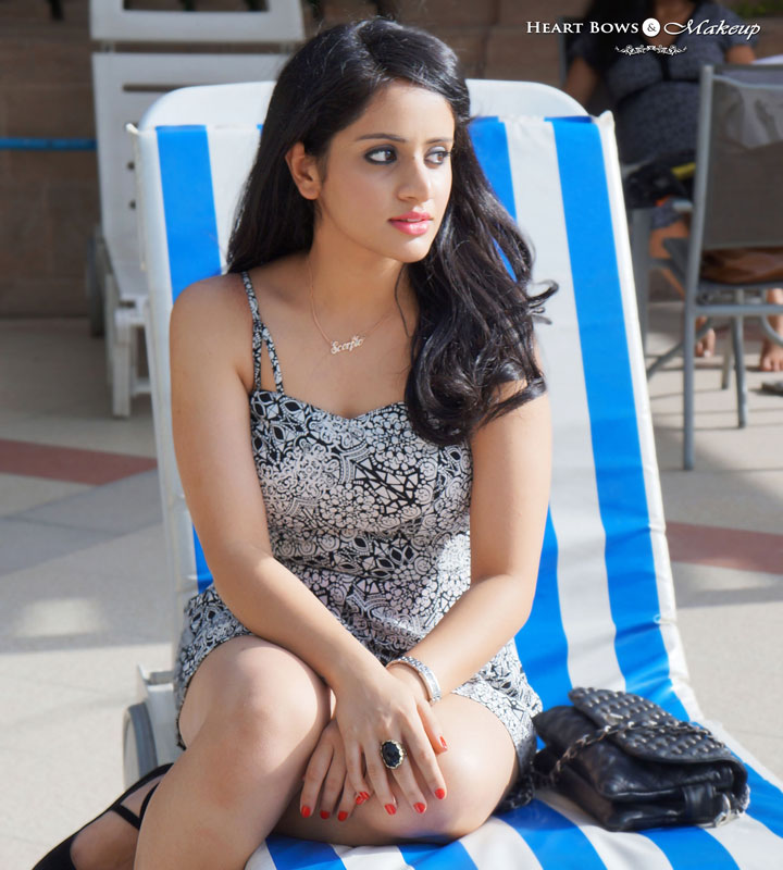 Indian Fashion Blog: OOTD At The Pool feat ASOS Multi Strap Aztec Playsuit, Black Pumps & Black Sling Bag