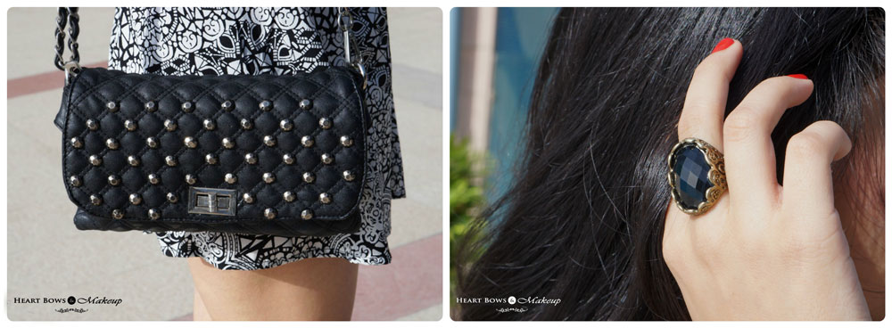 Indian Lifestyle Blog: OOTD feat Black Sling Bag & Black Statement Ring