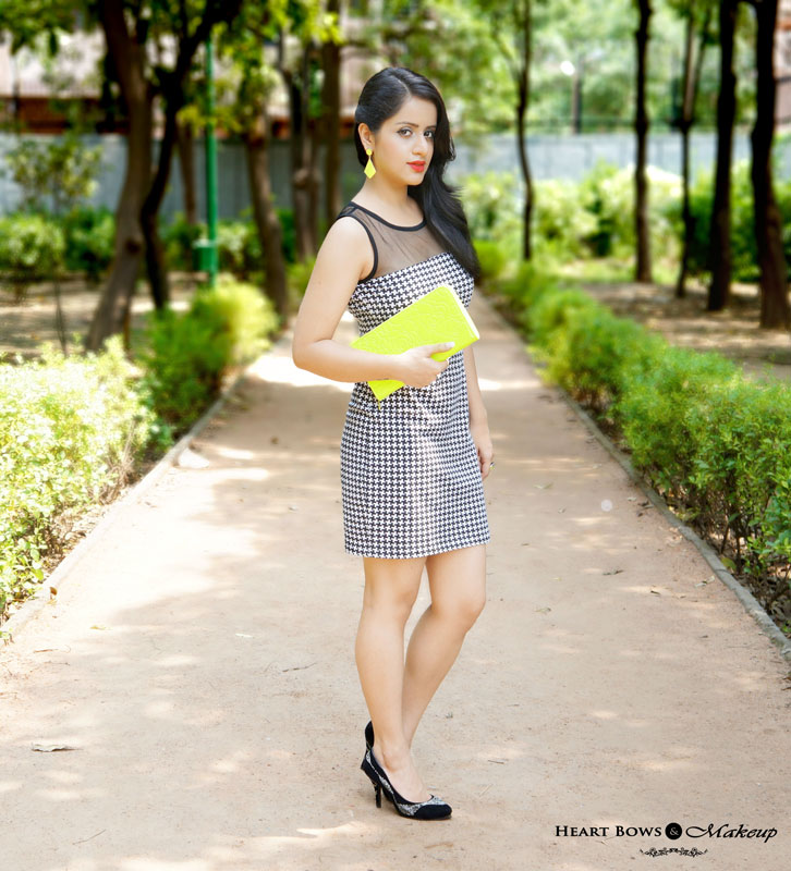 Indian Makeup Blog: OOTD- Breaking Monochrome feat FabAlley Houndstooth Dress, Neon Accessories & Black Pumps