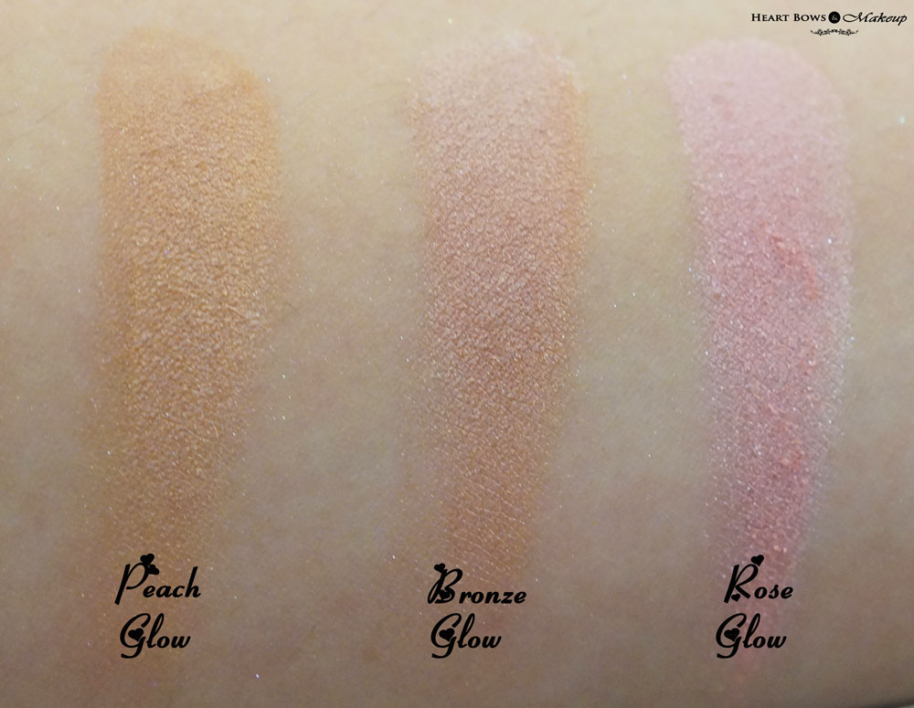 Revlon Highlighting Palette Swatches & Review: Peach Glow, Bronze Glow & Rose Glow
