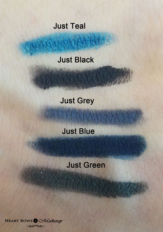Colorbar Just Smoky Kajal Eye Pencil Swatches & Review: Teal, Black, Grey, Blue & Green