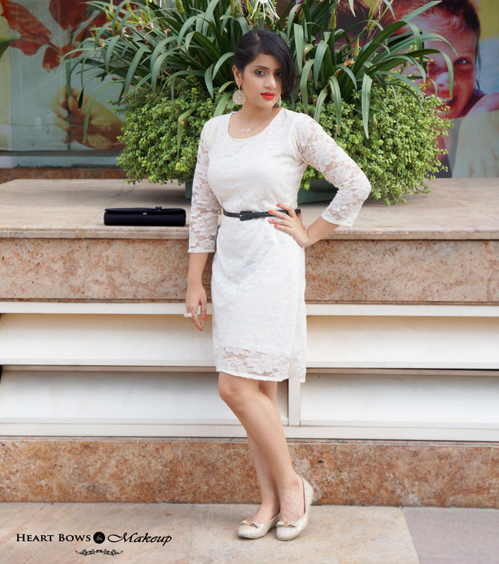 Indian Beauty & Fashion Blog: OOTD feat A Cream Lace Dress Gold Statement Jewellery With Bow Booties
