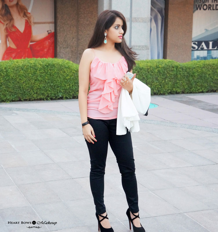 Indian Fashion Blog: OOTD feat H&M Pink Ruffled Top, White Structured Blazer & Addons Accessories