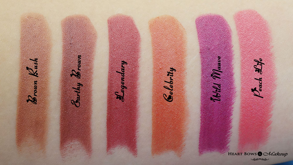 Colorbar Darkened Summer Lipstick Review & Swatches: Brown Rush, Earthy Brown, Legendary, Celebrity, Wild Mauve, Peach Life