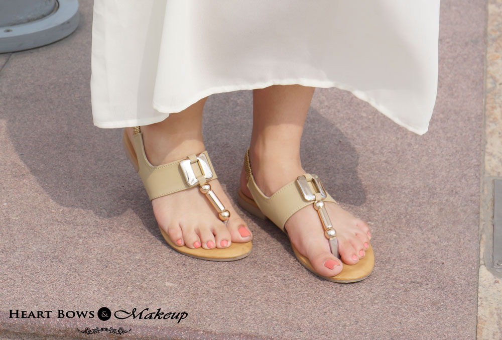 Delhi Fashion Blog : Nude Flats With Chrome Detailing. Best Budget Buys From Lajpat Nagar
