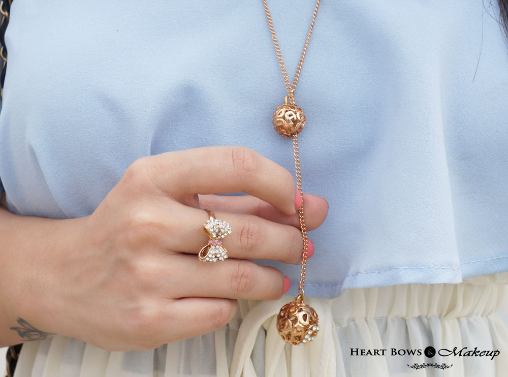 Indian Lifestyle Blog: Zotiqq Adjustable Necklace & Pretty Bow Ring