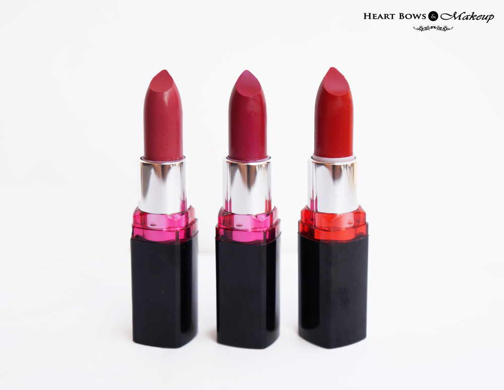Maybelline Color Show Lipsticks  Violet Fusion, Fuchsia Fantasy & Red Twilight Review & Swatches