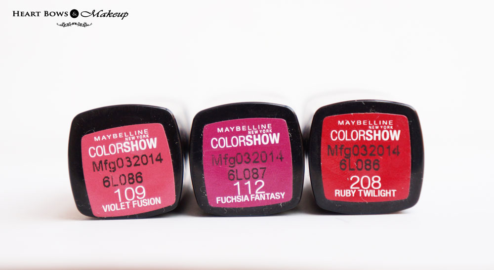 Maybelline Color Show Lipsticks Review & Price:  Violet Fusion, Fuchsia Fantasy & Red Twilight