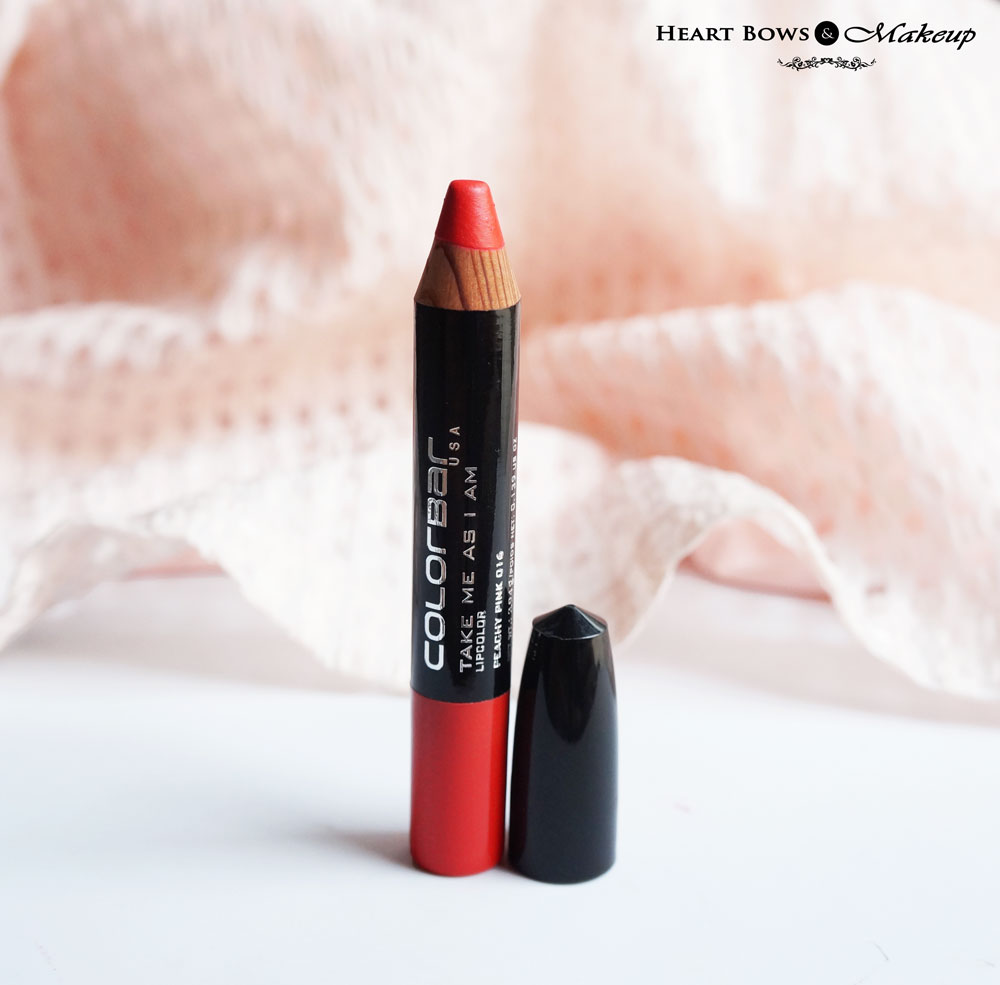 Colorbar Take Me As I Am Lip Crayon Peachy Pink Review & Swatches