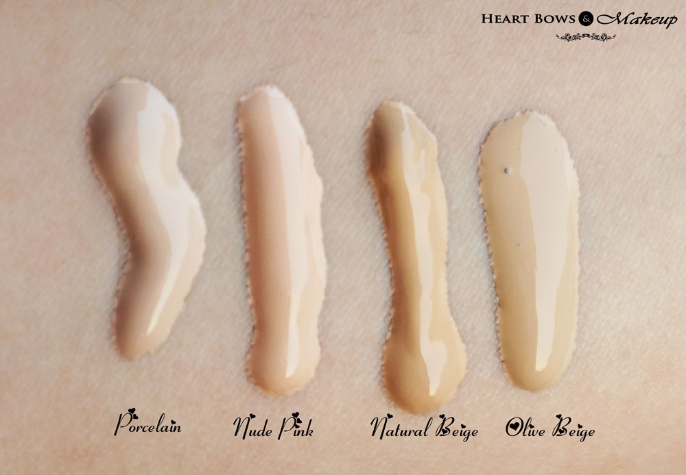 Oriflame The ONE IlluSkin Foundation Swatches, Shades & Review: Porcelain, Nude Pink, Natural Beige, Olive Beige