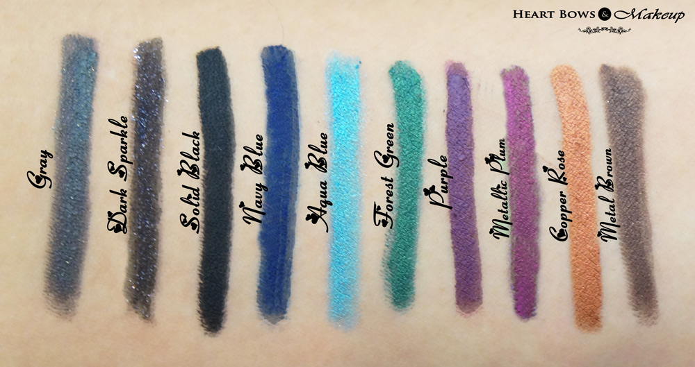 Faces Long Wear Eye Pencil Review & Swatches: Gray, Double Sparkle, Solid Black, Navy Blue, Aqua Blue, Forest Green, Purple, Metallic Plum, Copper Rose & Metal Brown