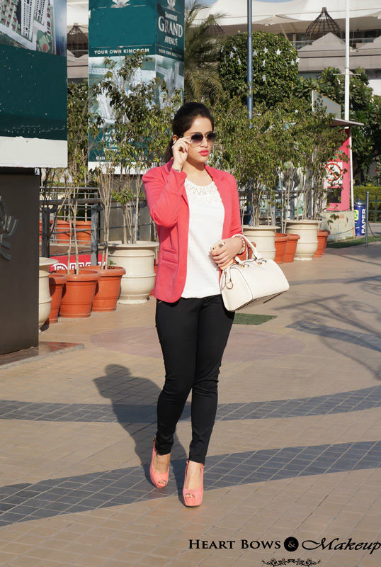 Indian Fashion Blog: Sunny Winters feat coral blazer & high heels