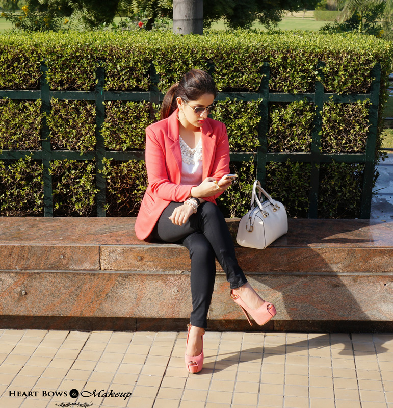 Indian Fashion Blog: Fall OOTD feat Sheinside Blazer, Rosewholesale Top, Faballey Trousers & Coral Heels