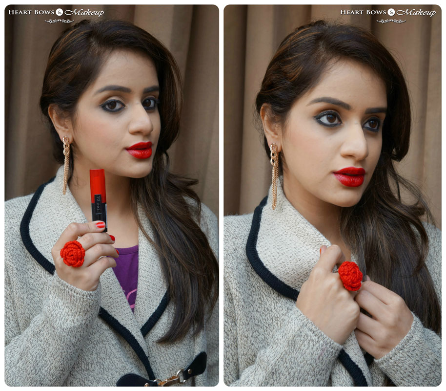 L'Oreal Infallible Lipstick Ravishing Red Review, Swatches on Indian Skin & FOTD