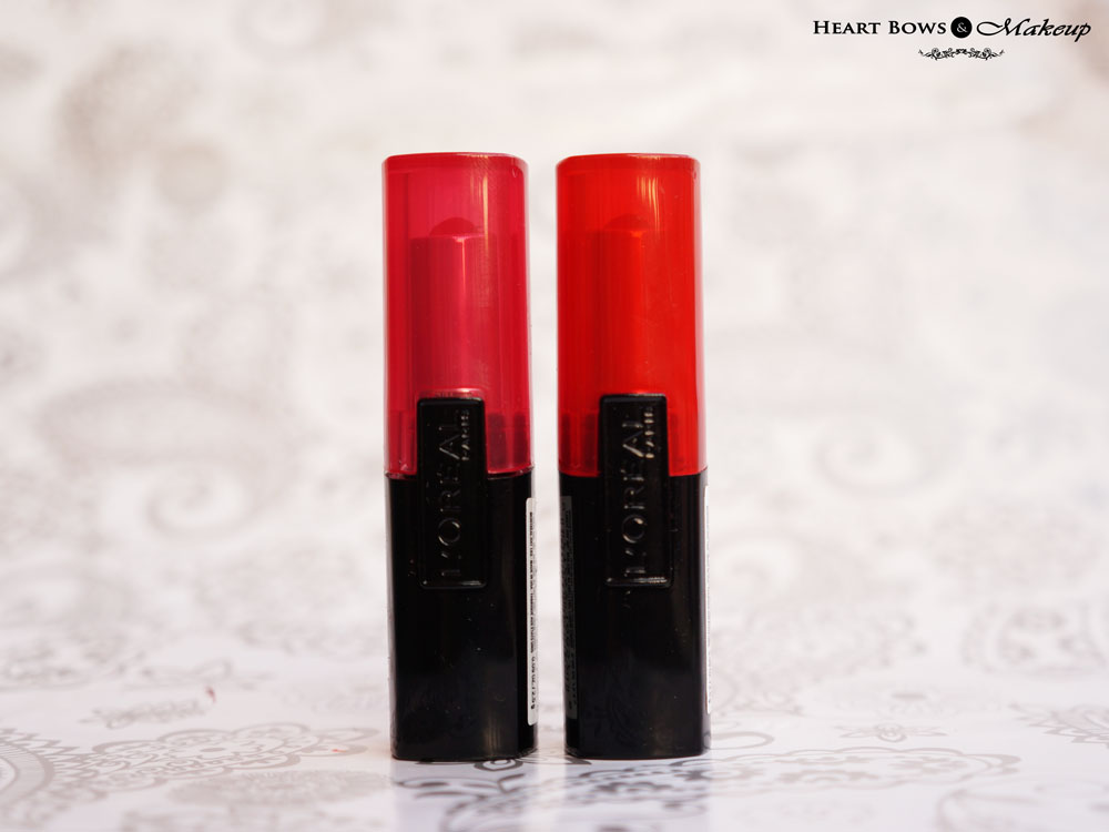 L'Oreal Paris Infallible Le Rouge Lipsticks Forever Fuchsia & Ravishing Red Review, Swatches & Buy Online India