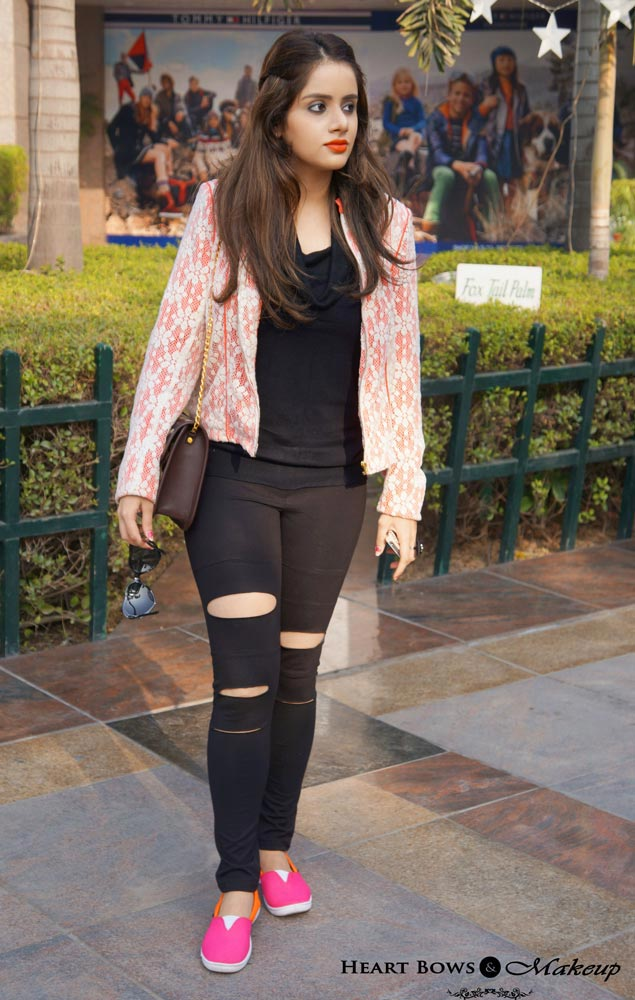 Indian Fashion & Beauty Blog: Grunge OOTD feat StalkBuyLove Ripped Leggings, Coral Blazer & Bright Loafers