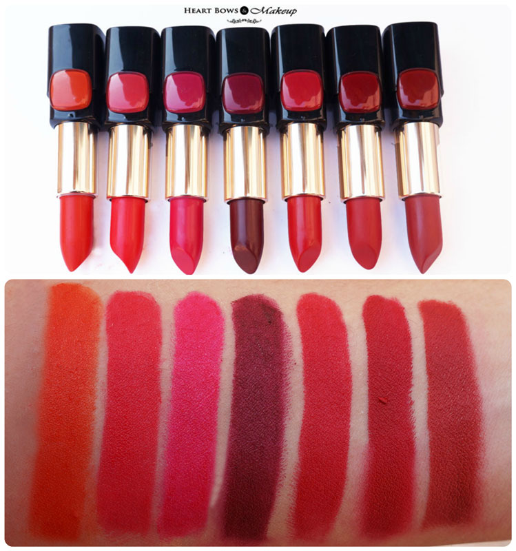 LOreal Collection Star Red Lipsticks Swatches & Review: Pure Fire, Pure Vermeil, Pure Amaranthe, Pure Garnet, Pure Scarleto, Pure Rouge, Pure Brick