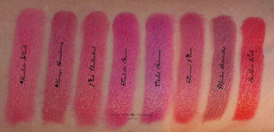Oriflame The ONE  Lipsticks Swatches, Shades & Review: Absolute Blush, Always Cranberry, Pink Unlimited, Fuchsia Excess, Violet Extreme, Forever Plum, Mocha Intensity, Endless Red