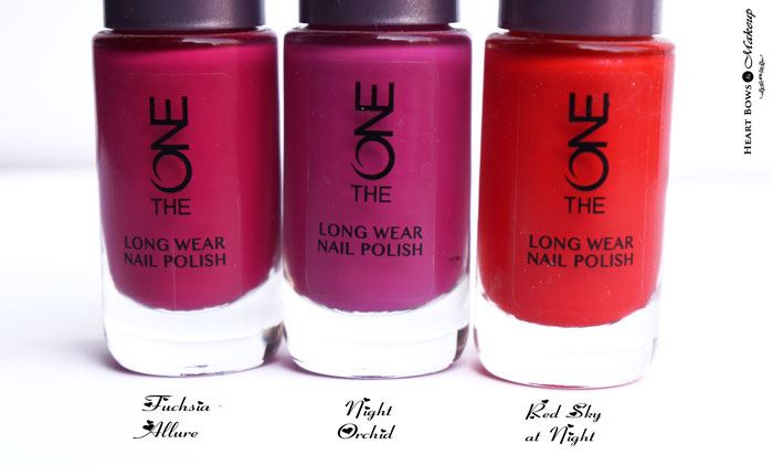 Oriflame The ONE Long Wear Nail Polish Fuchsia Allure, Night Orchid & Red Sky At Night Review & Swatches
