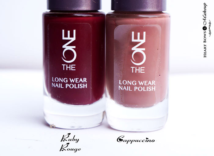 Oriflame The ONE Long Wear Nail Polish Ruby Rouge & Cappuccino Review & Swatches