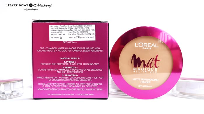 L'Oreal Paris Mat Magique Transforming Powder Review Buy Online India