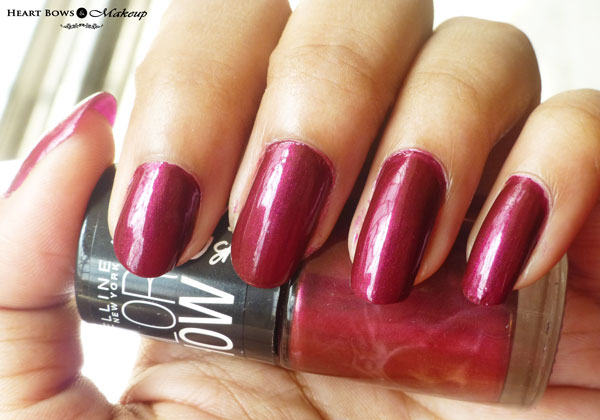 Maybelline Bright Sparks Nail Polish Glowing Wine Swatches NOTD Review
