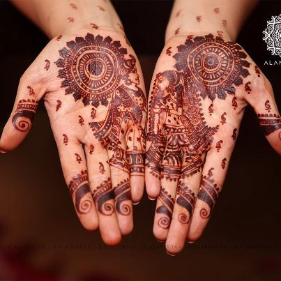 Traditional Dulha Dulhan Mehendi Design 2015
