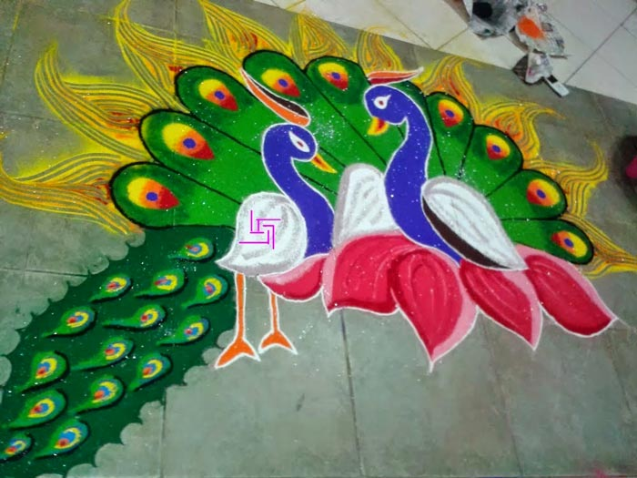 Easy Peacock Rangoli Design For Diwali 2015