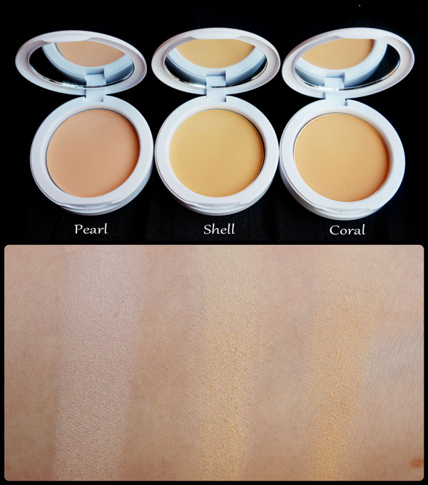 Maybelline White Super Fresh Compact Review Swatches Shades Pearl Shell Coral