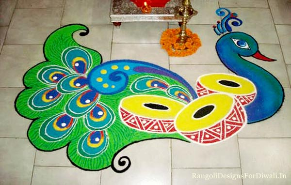 Peacock Rangoli Design For Diwali Images
