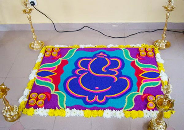 Simple Ganesh Rangoli Design For Diwali