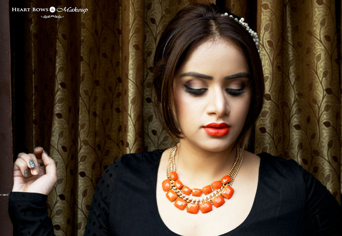 Indian Beauty Blogger Neutral Eyes & Orange Lips