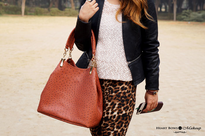 Indian Fashion Blog Black Leather Jacket Tan Tote Leopard Leggings