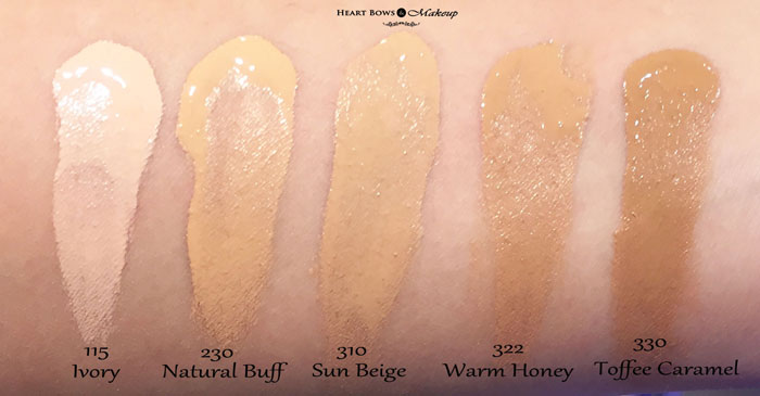 Maybelline Fit Me Foundation Swatches Review Ivory Natural Buff Sun Beige Warm Honey Toffee Caramel