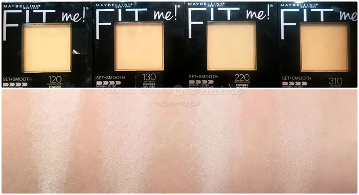 Maybelline Fit Me Pressed Powder Review Swatches Classic Ivory Buff Beige Natural Beige Sun Beige