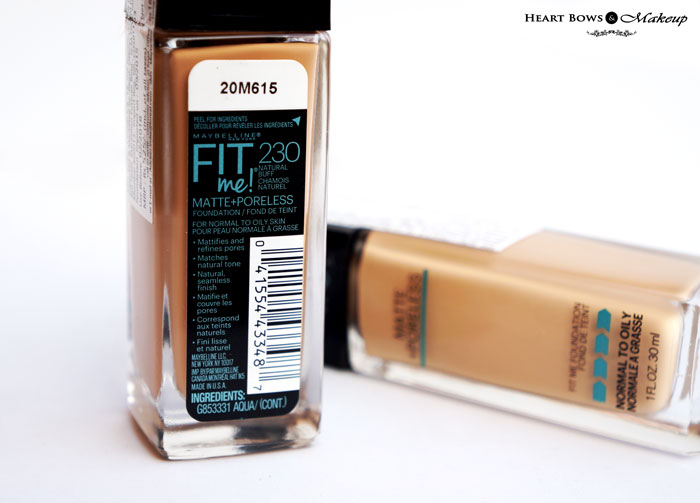 Best Affordable Foundation For Oily Skin In India Maybelline Fit Me Matte + Poreless Foundation